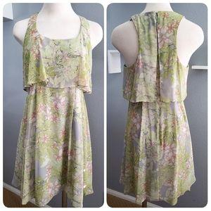 Jessica Simpson Sheer Floral Green Mini Dress